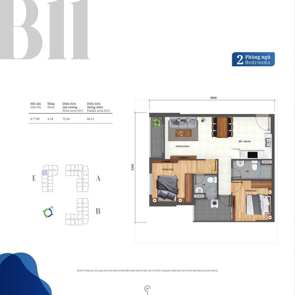 Thiết kế căn hộ 2PN loại B11 Lovera Vista