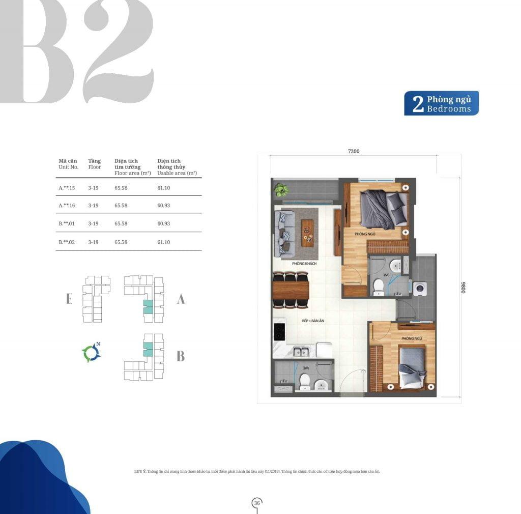 Thiết kế căn hộ 2PN loại B2 Lovera Vista