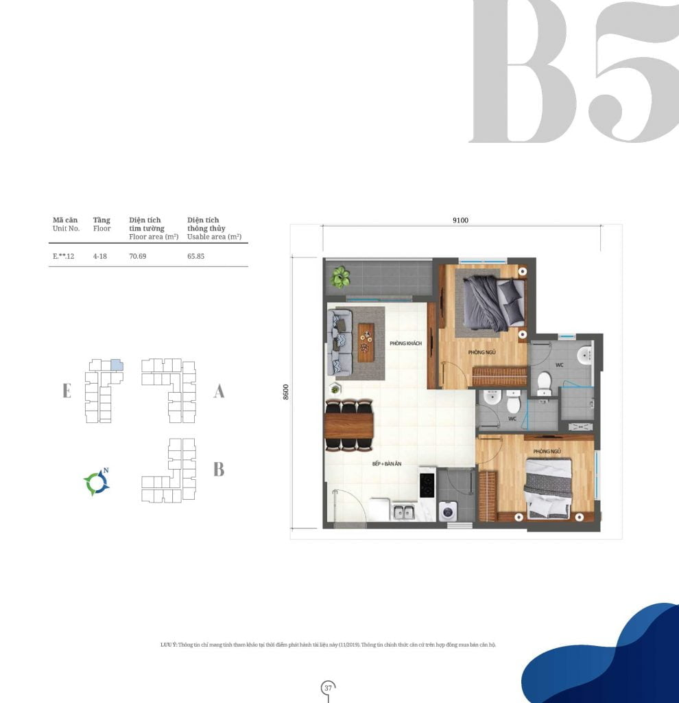Thiết kế căn hộ 2PN loại B5 Lovera Vista