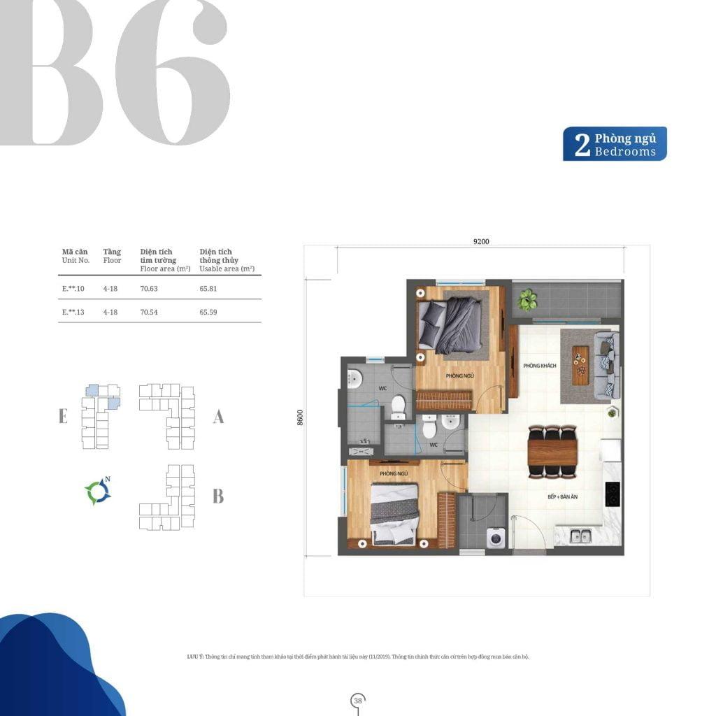Thiết kế căn hộ 2PN loại B6 Lovera Vista