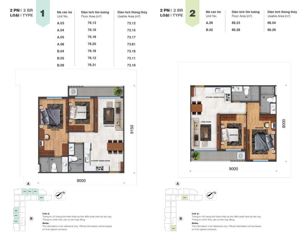 Thiết kế căn 2PN loại 1, 2 tại Block A & B dự án Jamila