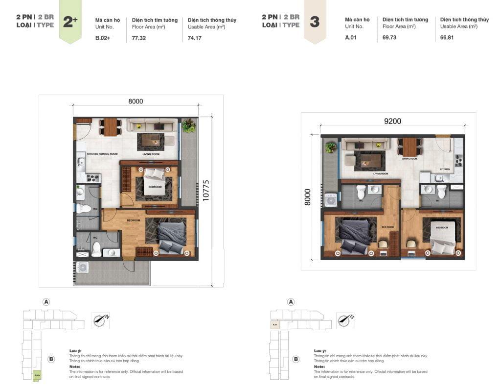 Thiết kế căn 2PN loại 2+, 3 tại Block A & B dự án Jamila