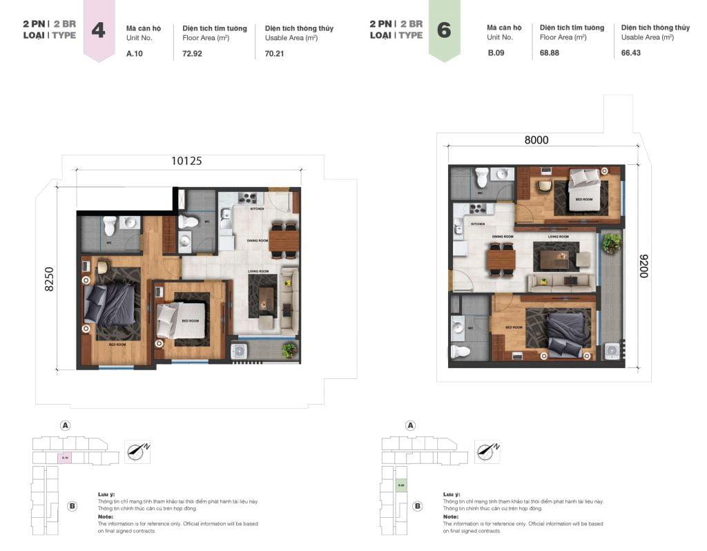 Thiết kế căn 2PN loại 4, 6 tại Block A & B dự án Jamila