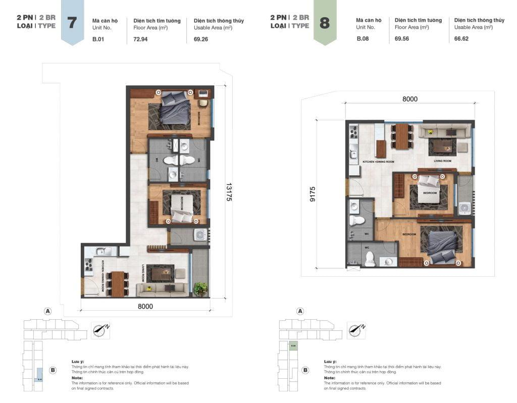 Thiết kế căn 2PN loại 7, 8 tại Block A & B dự án Jamila