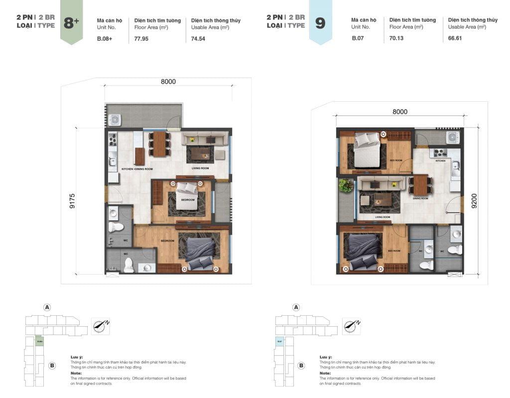 Thiết kế căn 2PN loại 8+, 9 tại Block A & B dự án Jamila