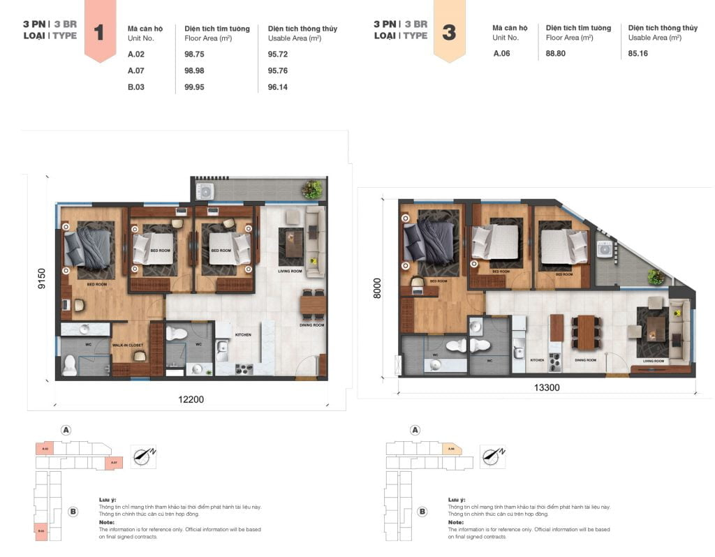 Thiết kế căn 3PN loại 1, 3 tại Block A & B dự án Jamila