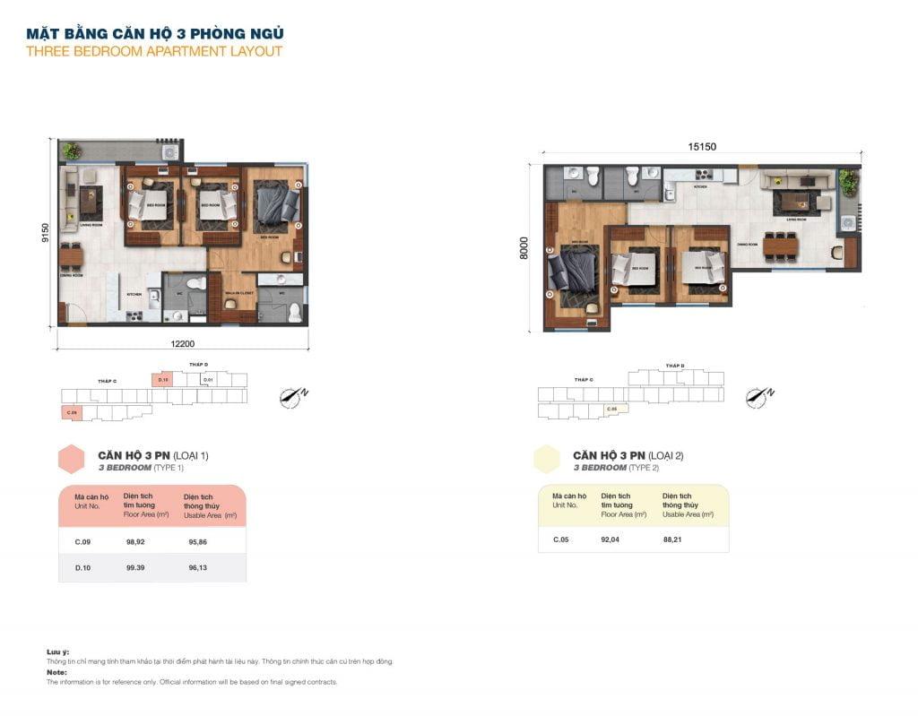 Thiết kế căn 3PN loại 1, 2 tại Block C & D dự án Jamila