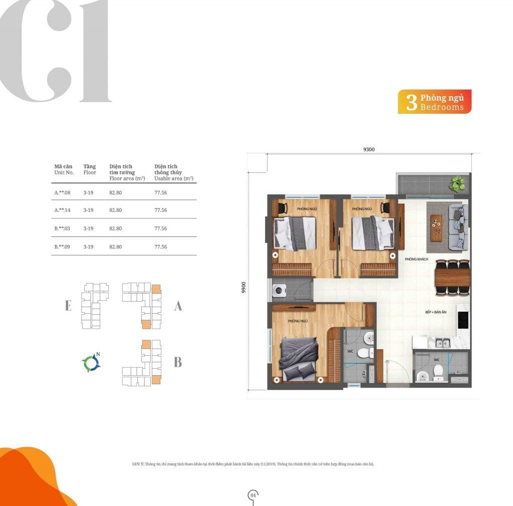 Thiết kế căn hộ 3PN loại C1 Lovera Vista