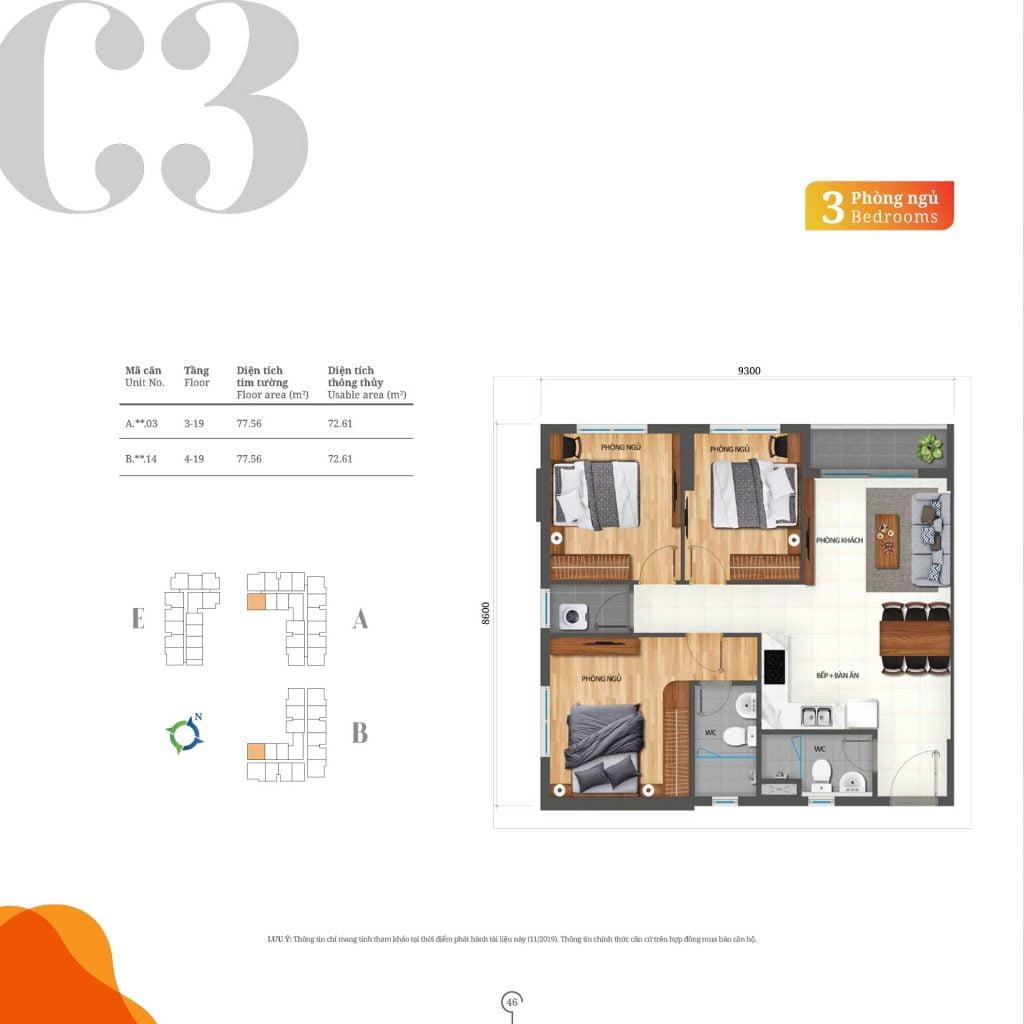 Thiết kế căn hộ 3PN loại C3 Lovera Vista