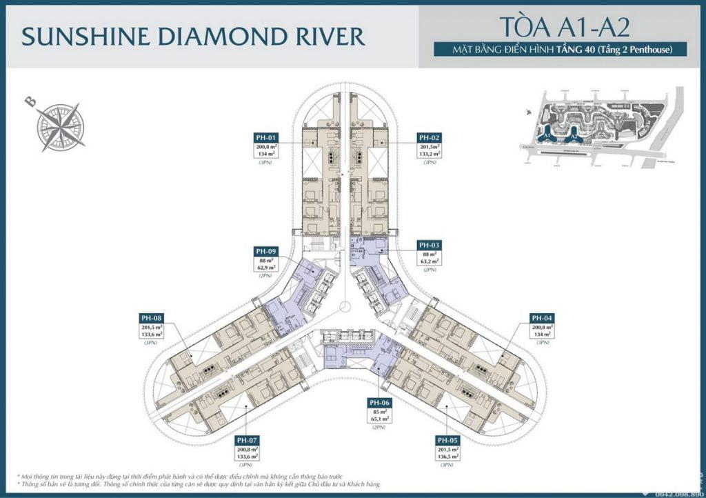 Mặt bằng tầng 40 tòa A1 A2 dự án căn hộ Sunshine Diamond River Quận 7
