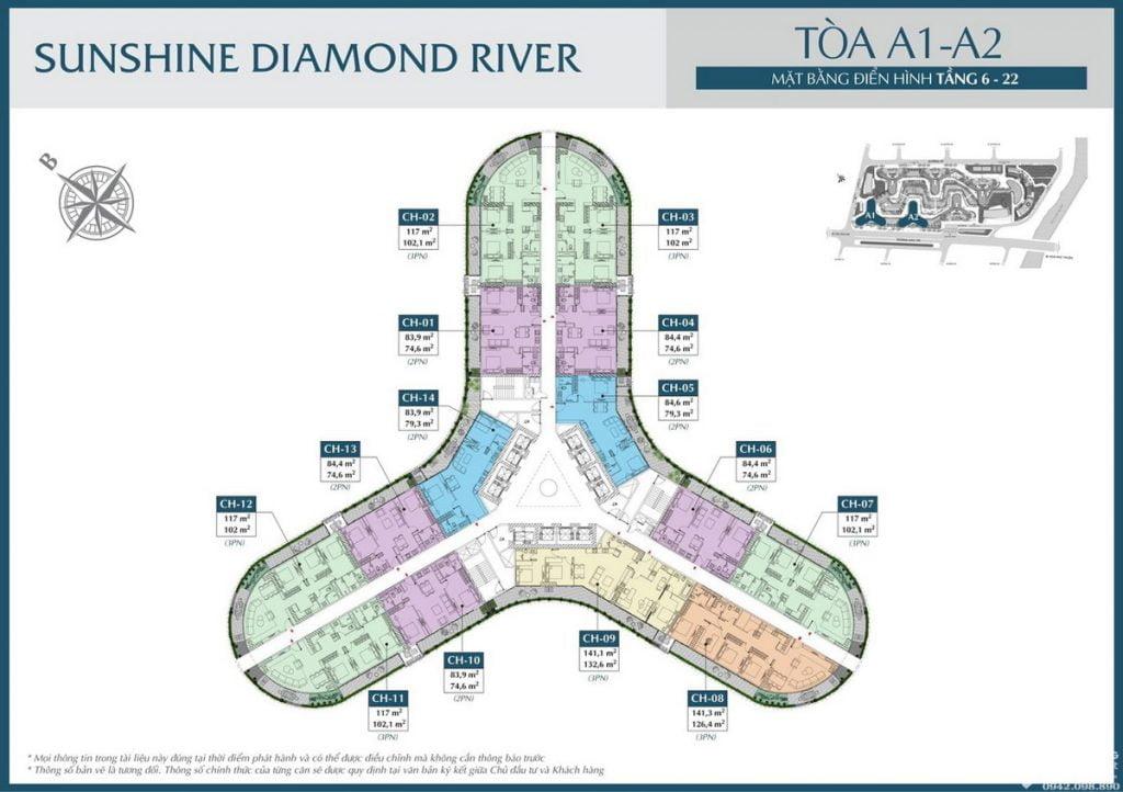 Mặt bằng tầng 6-22 tòa A1 A2 dự án căn hộ Sunshine Diamond River Quận 7
