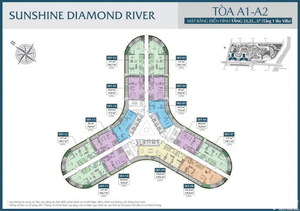 Mặt bằng tầng 23-37 tòa A1 A2 dự án căn hộ Sunshine Diamond River Quận 7