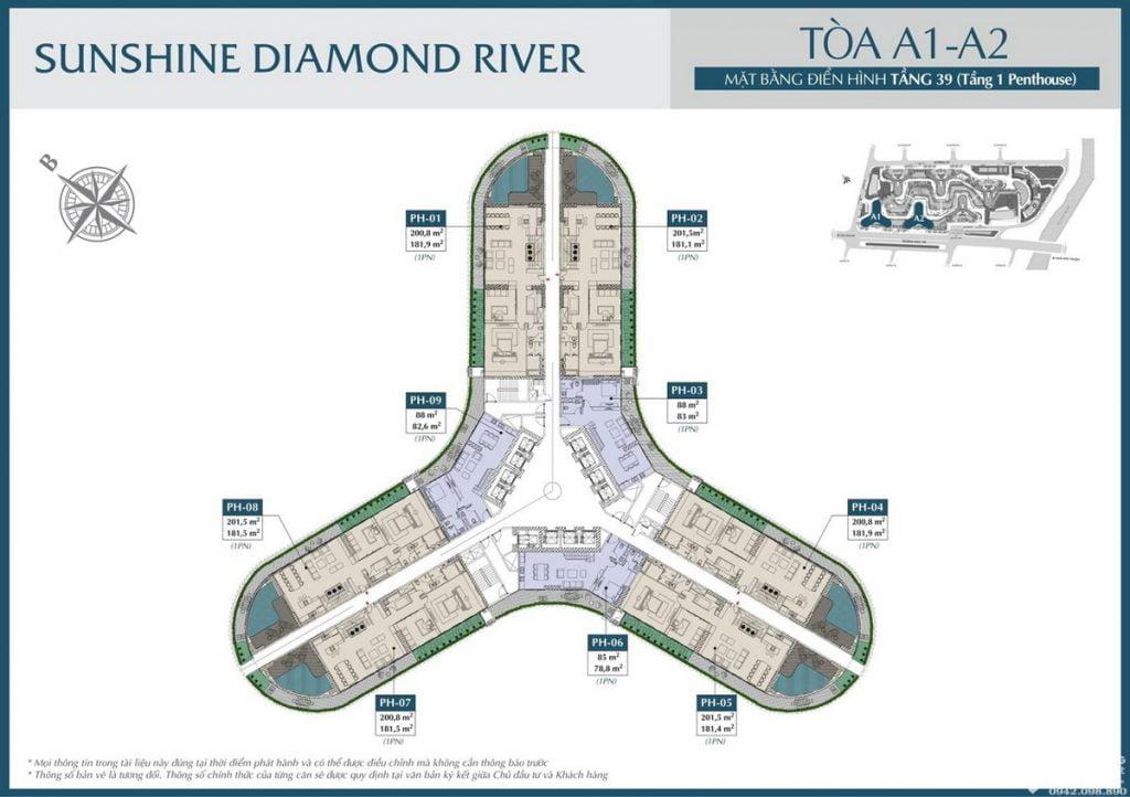 Mặt bằng tầng 39 tòa A1 A2 dự án căn hộ Sunshine Diamond River Quận 7