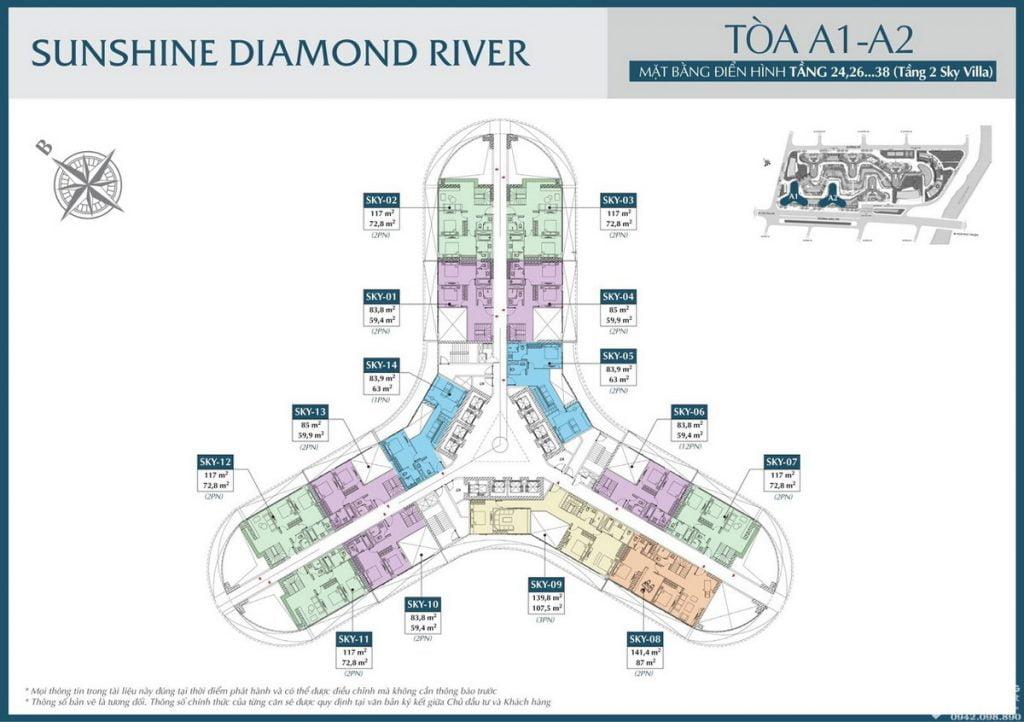 Mặt bằng tầng 24 – 38 tòa A1 A2 dự án căn hộ Sunshine Diamond River Quận 7