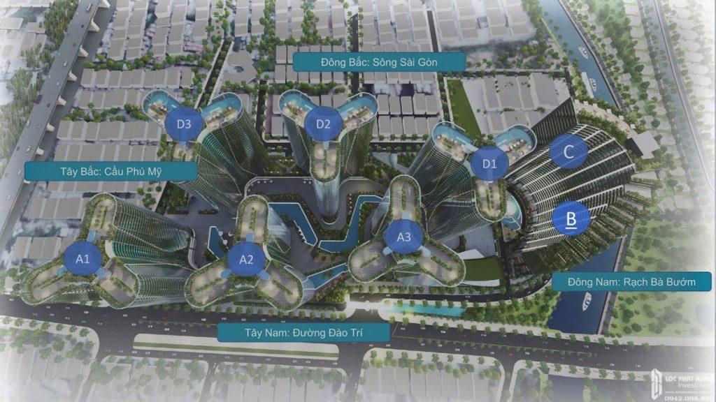 Mặt bằng tổng thể dự án căn hộ Sunshine Diamond River Quận 7 mặt tiền đường Đào Trí
