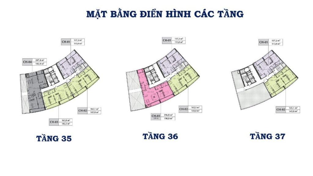 Mặt bằng tầng 35-36-37 block B và C dự án căn hộ Sunshine Diamond River