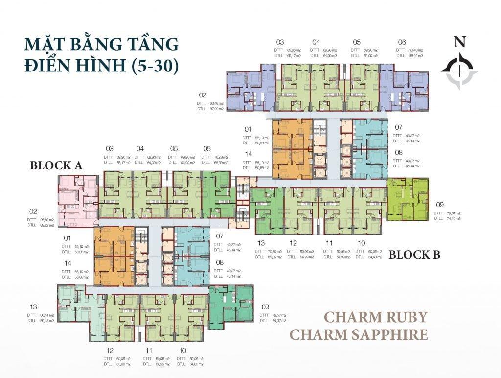 Mặt bằng căn hộ tầng 5-30 Charm Ruby & Charm Sapphire