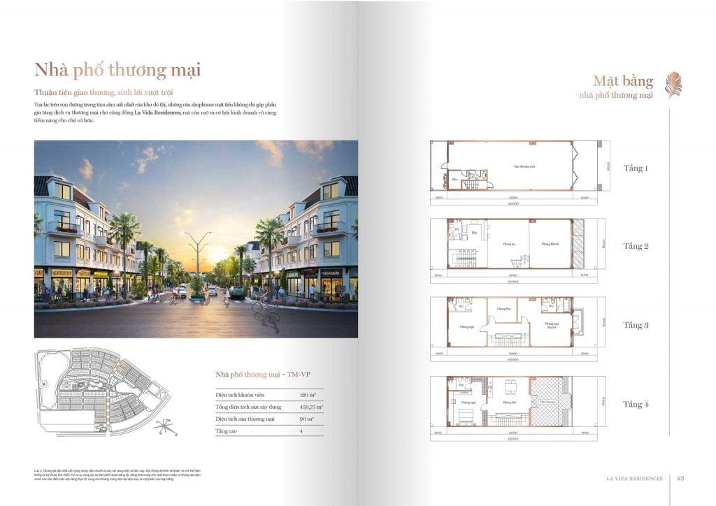 Mặt bằng nhà phố thương mại La Vida Residences