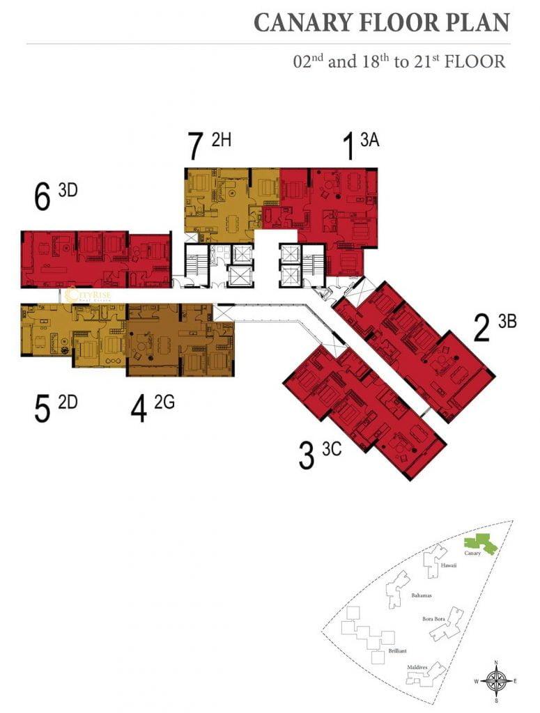 Mặt bằng sàn tầng 2, 18-21 tháp Canary