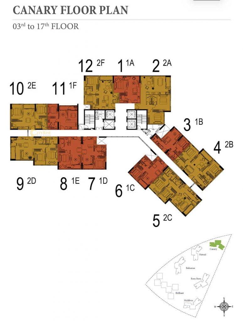 Mặt bằng sàn tầng 3-17 tháp Canary