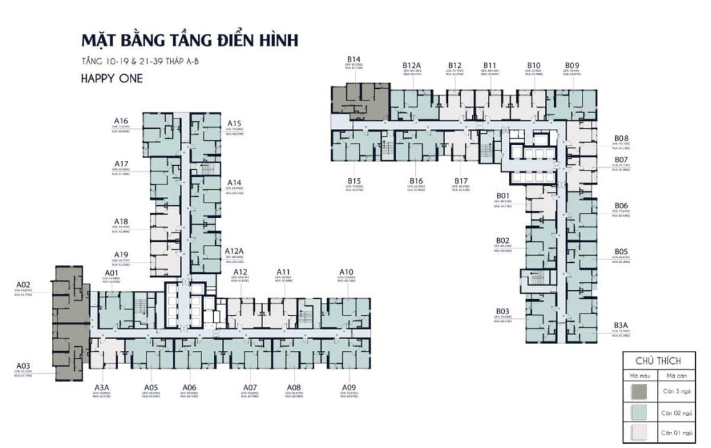 Mặt bằng tầng từ tầng 10-19 và từ 21-39