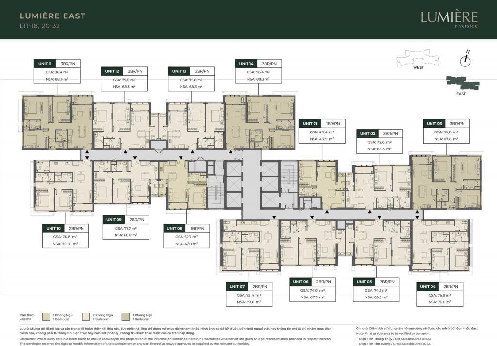 Mặt bằng sàn tầng 11-18, 20-32 Block Lumière East