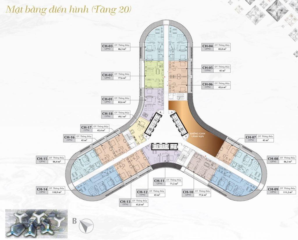 Mặt bằng thiết kế chi tiết toà A1, A2, A3 dự án căn hộ chung cư Sunshine Diamond Rivrer Quận 7 tầng 20