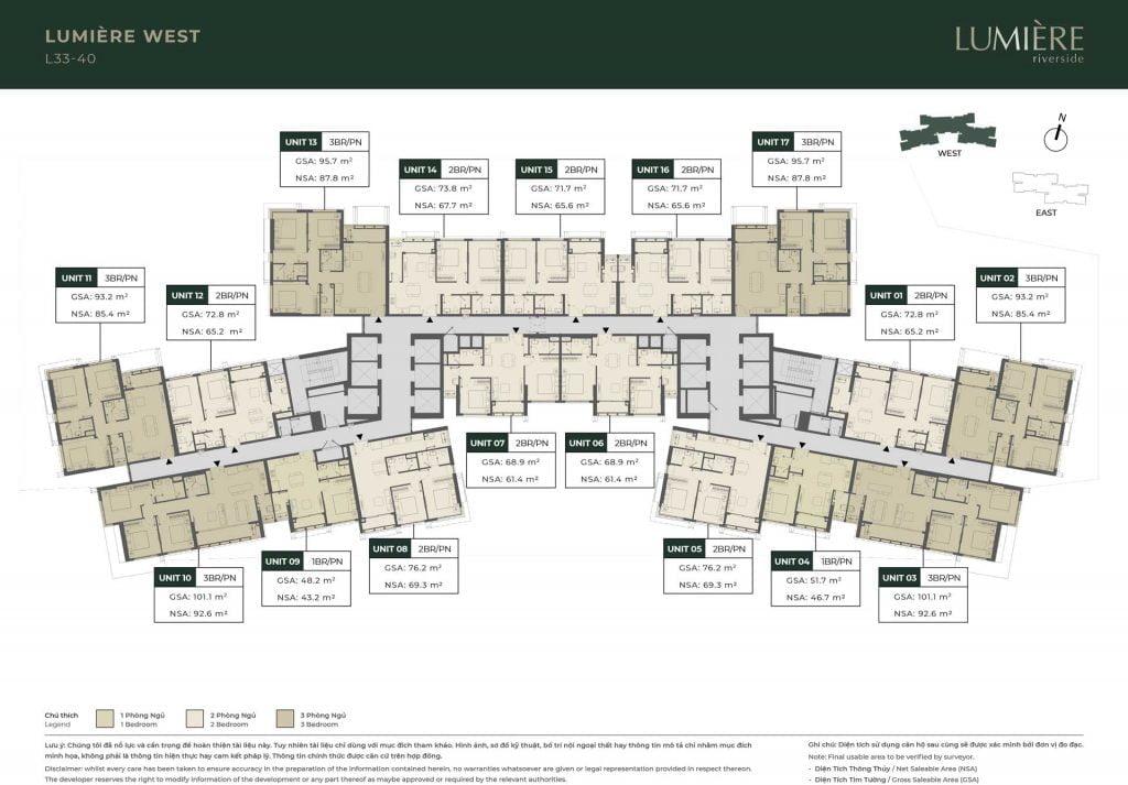 Mặt bằng sàn tầng 33-40 Block Lumière West