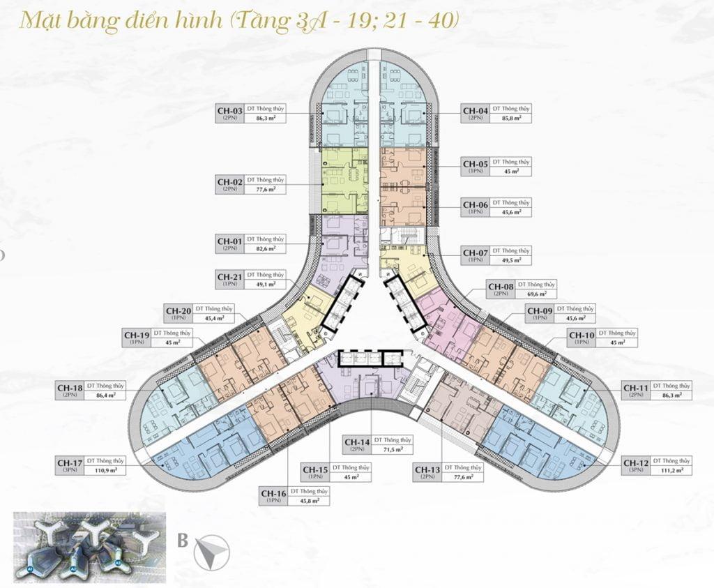 Mặt bằng thiết kế chi tiết toà A1, A2, A3 dự án căn hộ chung cư Sunshine Diamond Rivrer Quận 7 tầng 3A-19, 21-40