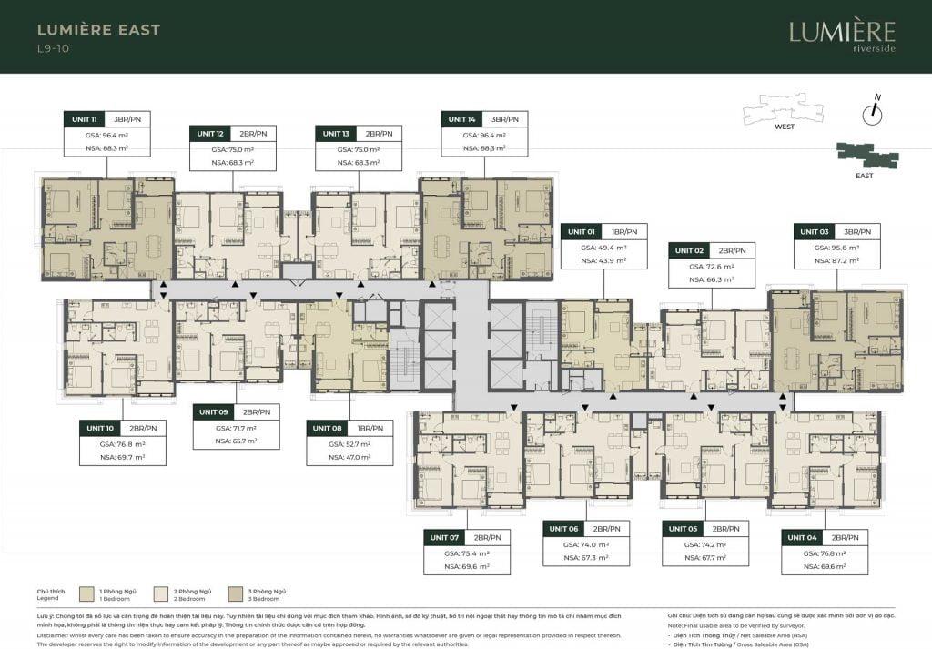 Mặt bằng sàn tầng 9-10 Block Lumière East