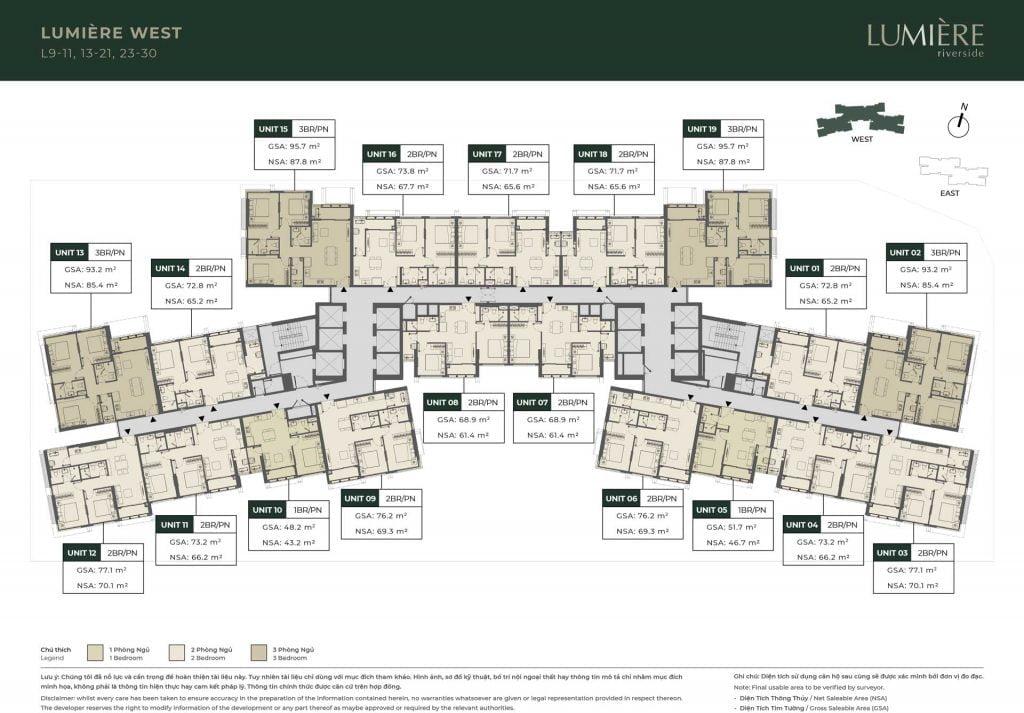 Mặt bằng sàn tầng 9-11, 13-21, 23-30 Block Lumière West