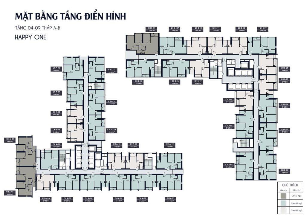 Mặt bằng điển hình tầng 4 đến tầng 9