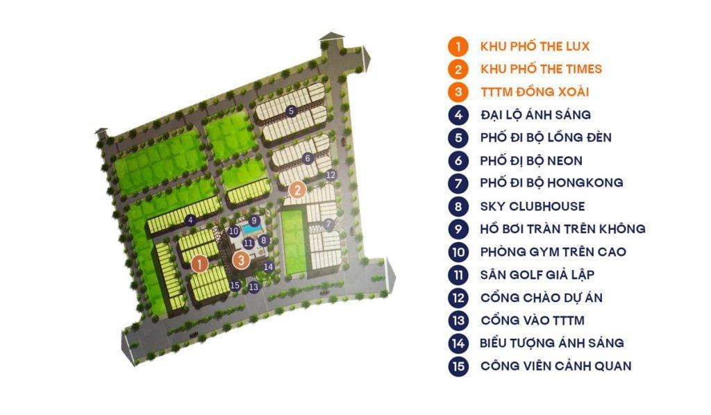Sơ đồ tham khảo của dự án TTTM và Shophouse ở TP Đồng Xoài