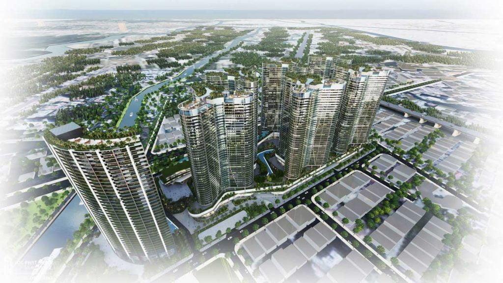 Toàn cảnh dự án căn hộ chung cư Sunshine Diamond River Quận 7 hướng từ cầu Phú Mỹ