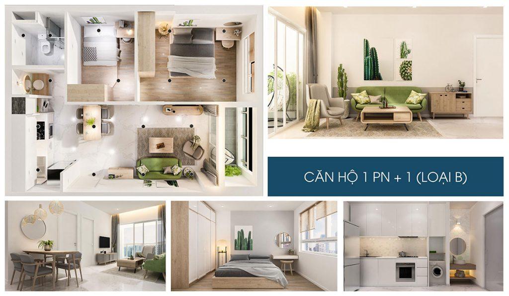 Nhà mẫu dự án căn hộ chung cư Charm City Dĩ An Bình Dương căn hộ 1 phòng ngủ