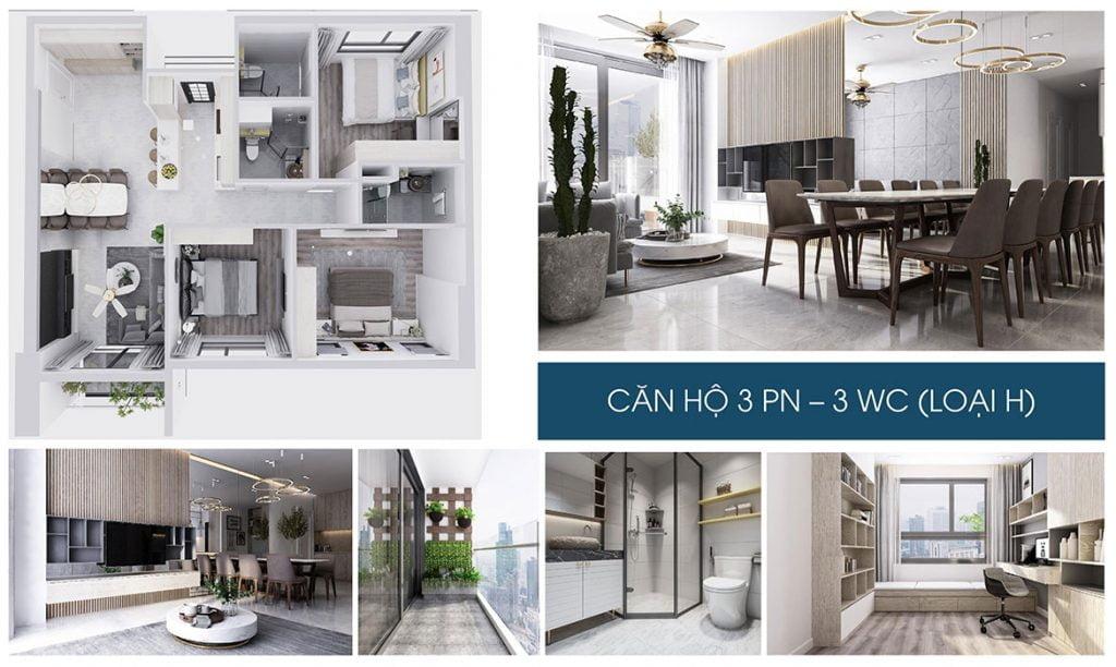 Nhà mẫu dự án căn hộ chung cư Charm City Dĩ An Bình Dương căn hộ 3 phòng ngủ – 2WC