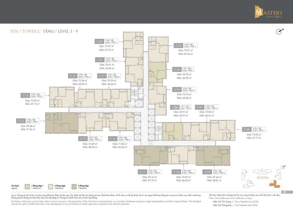 Mặt bằng tầng 3-9 Block C khu Riviera