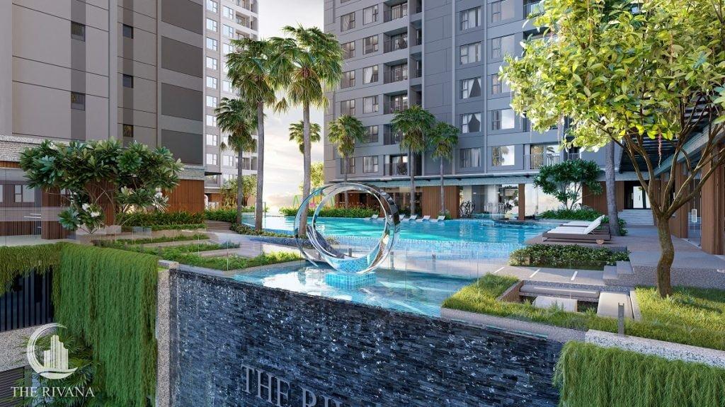 Hình ảnh hồ bơi ở tầng của dự án Rivana Bình Dương