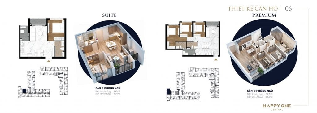 Mẫu thiết kế căn hộ 1PN và 3PN