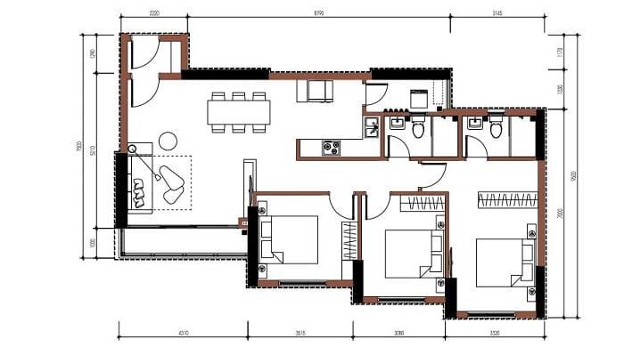 Thiết kế chi tiết 2D của một căn hộ 3PN có thiết kế giật cấp phòng ngủ rất thoáng