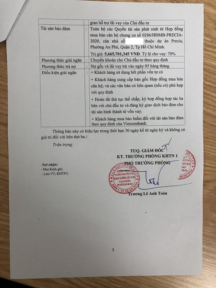 Một thông báo cho vay của Vietcombank CN TP Hồ Chí Minh