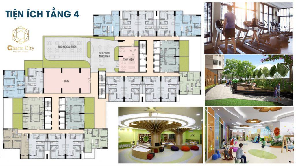 Tiện ích tầng 4 dự án căn hộ chung cư Charm City Dĩ An Bình Dương chủ đầu tư DCT Group
