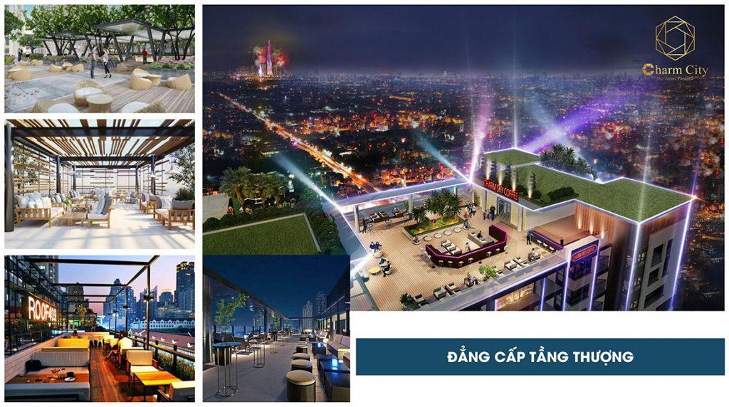 Tiện ích tầng thượng dự án căn hộ chung cư Charm City Dĩ An Bình Dương chủ đầu tư DCT Group