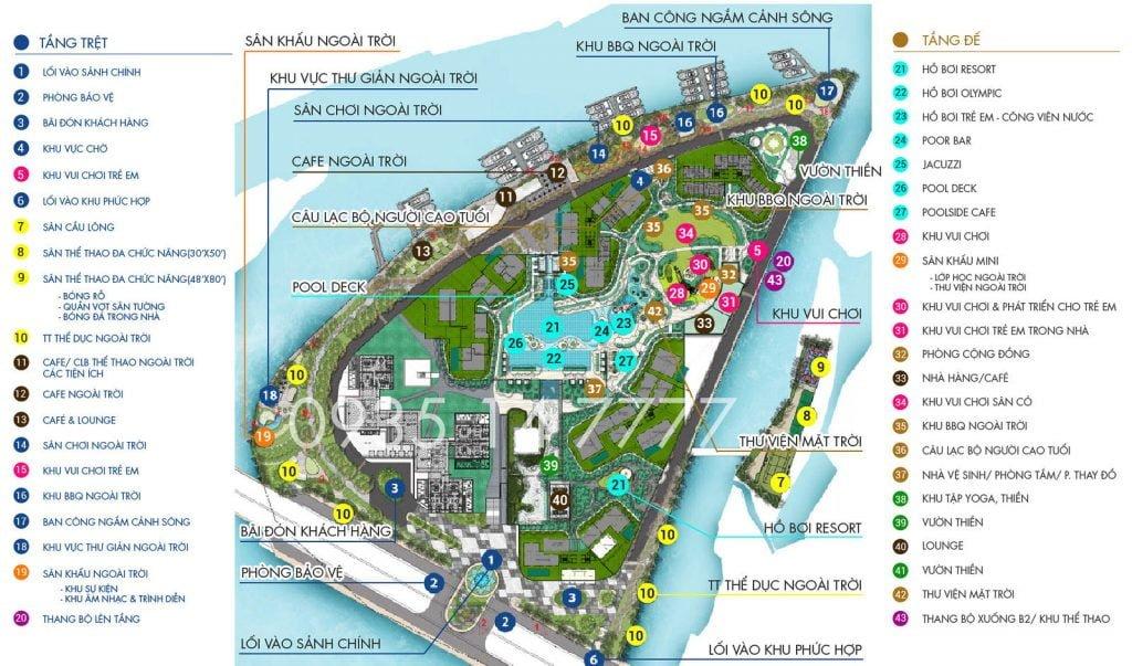 Mặt bằng tiện ích dự án Đảo Kim Cương Quận 2