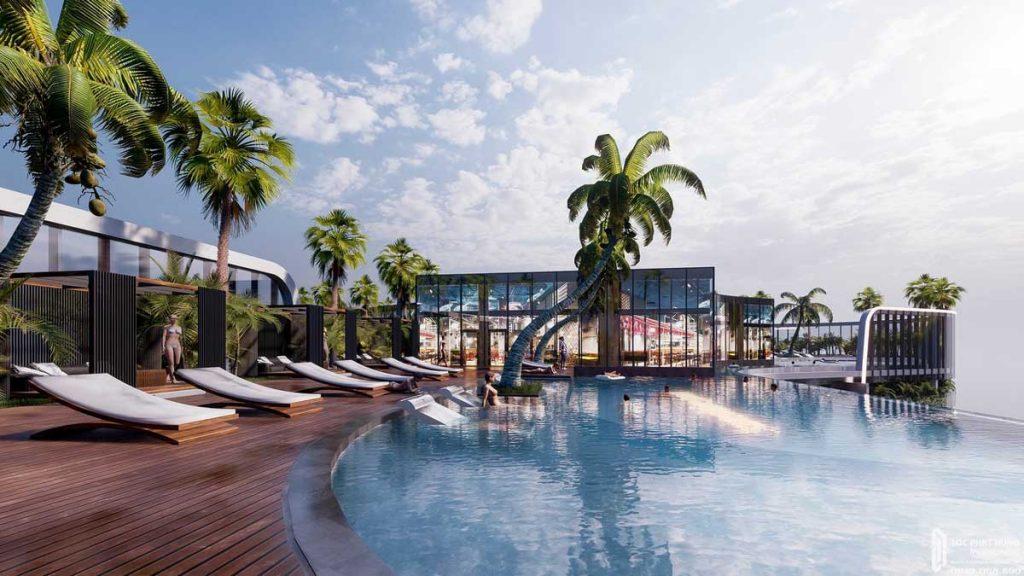 Hồ bơi tích hợp nghỉ dưỡng tầng mái dự án căn hộ Sunshine Diamond River Quận 7 đường Đào Trí