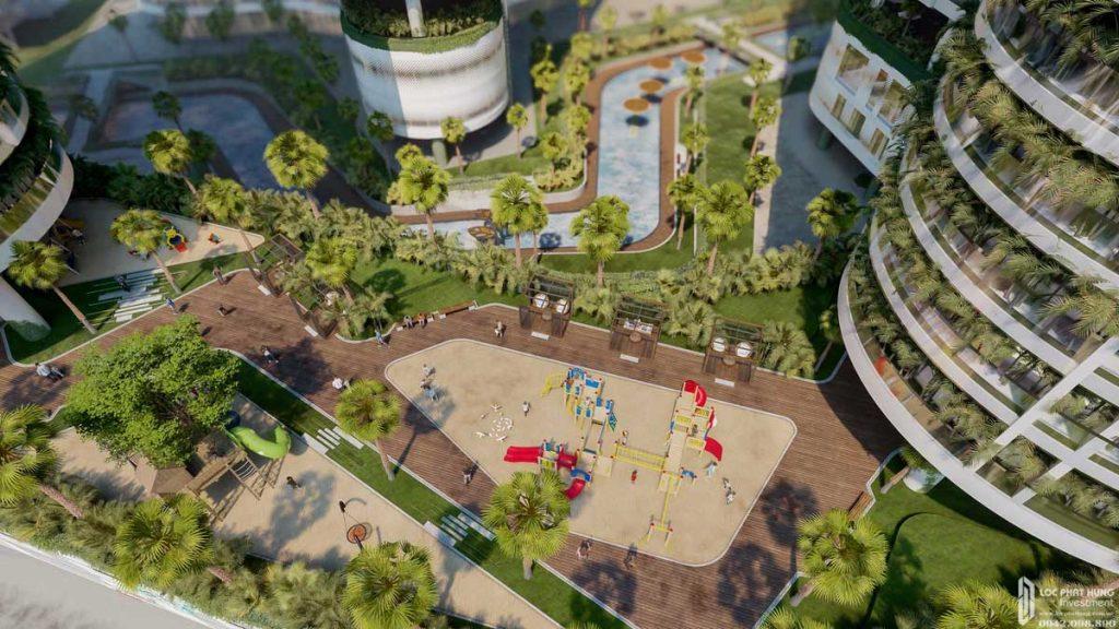 Từ tầng 4 nhìn xuống khuôn viên dự án Sunshine Diamond River