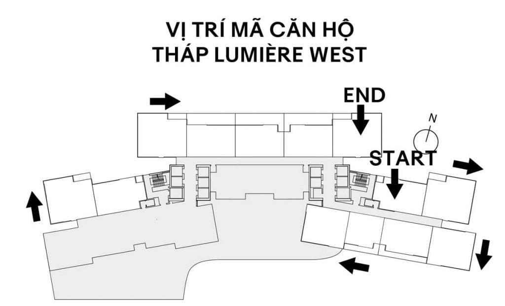 Vị trí mã căn tháp Lumière West