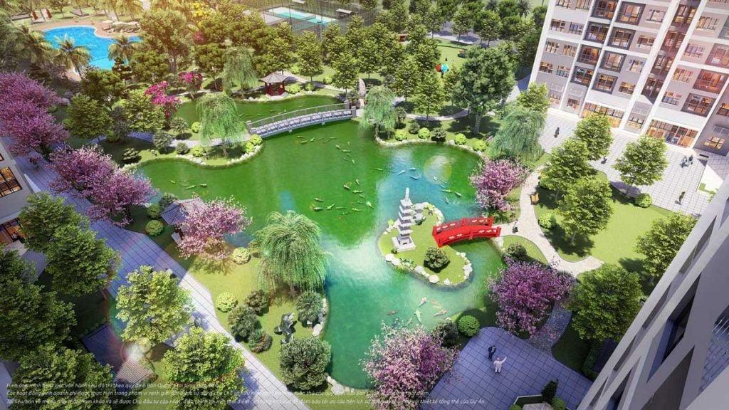 Phối cảnh vườn Nhật Bản tại phân khu The Origami