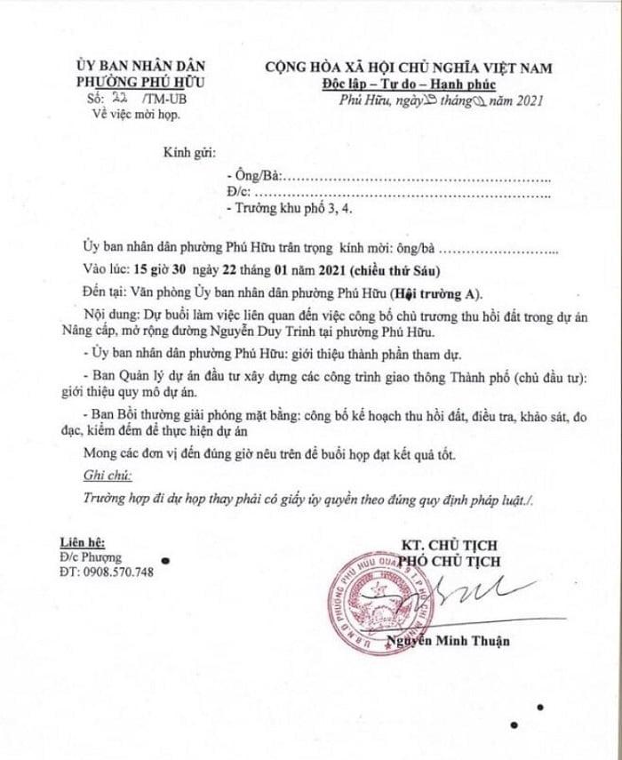 Thư mời họp liên quán đến mở rộng đường Nguyễn Duy Trinh ngày 19/01/2021