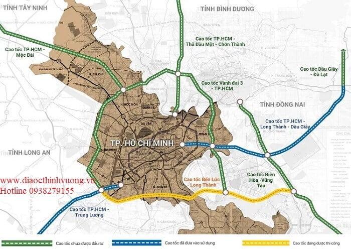 Sơ đồ các tuyến cao tốc kết nối với TP Hồ Chí Minh